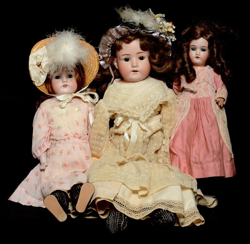 (3) GERMAN BISQUE HEAD DOLLS INCLUDING