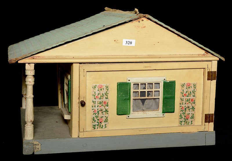 "11"" X 16"" VINTAGE WOODEN DOLL HOUSE WITH FURNITURE"