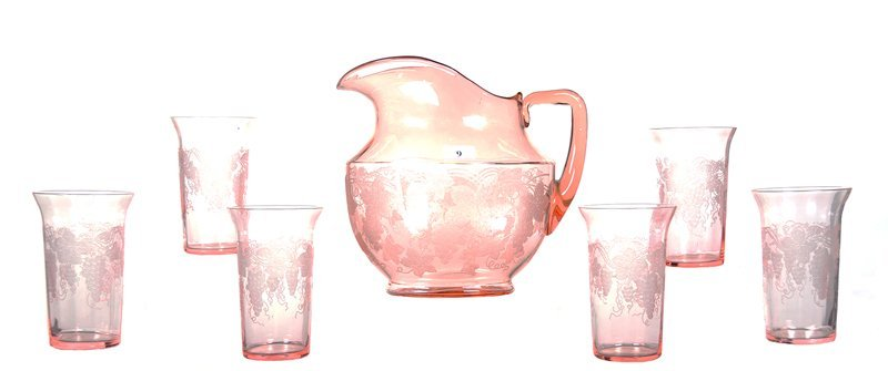 "8"" FOSTORIA PINK DEPRESSION GLASS OVAL WATER PITCHER &"