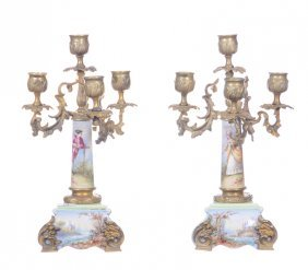 "PAIR 11.5"" FRENCH THREE ARM CANDELABRUM"