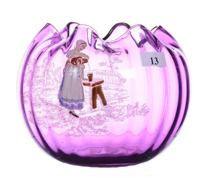"5"" X 6"" AMETHYST HARRACH ART GLASS ROSE BOWL"