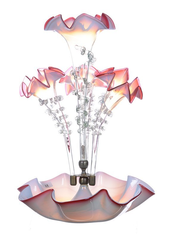 "15.5"" ART GLASS FOUR LILY EPERGNE"