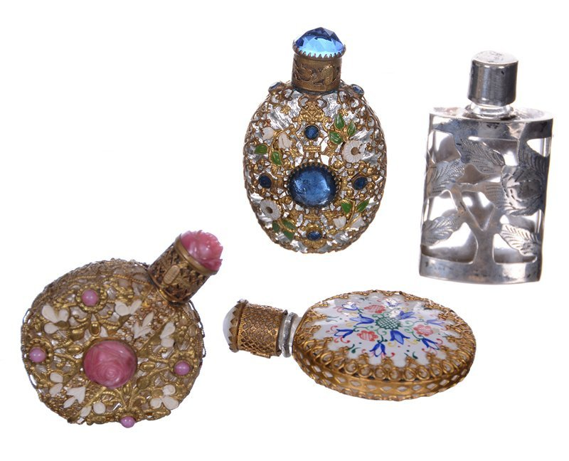 (4) MINIATURE PERFUME BOTTLES INCLUDING