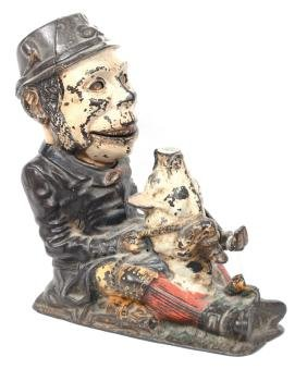 """MECHANICAL BANK - 8"""" X 8"""" - CAST IRON """"PADDY & THE PIG"""""""