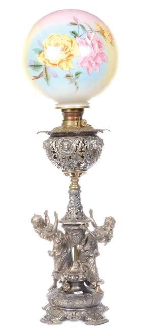 "34.5"" FIGURAL KEROSENE BANQUET LAMP"