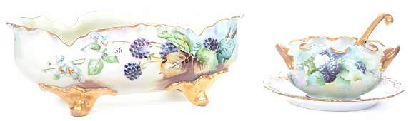 (4) UNMARKED LIMOGES STYLE HANDPAINTED ITEMS WITH