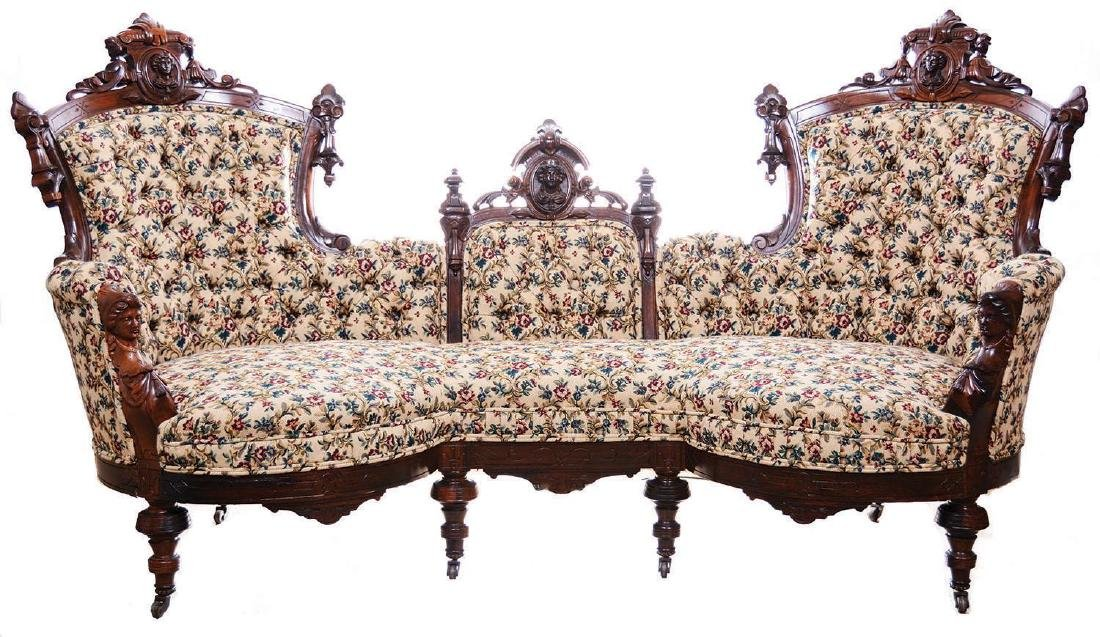 MAGNIFICENT THREE PIECE VICTORIAN WALNUT PARLOR SET BY