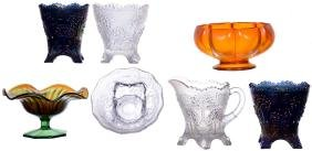 (7) CARNIVAL GLASS ITEMS