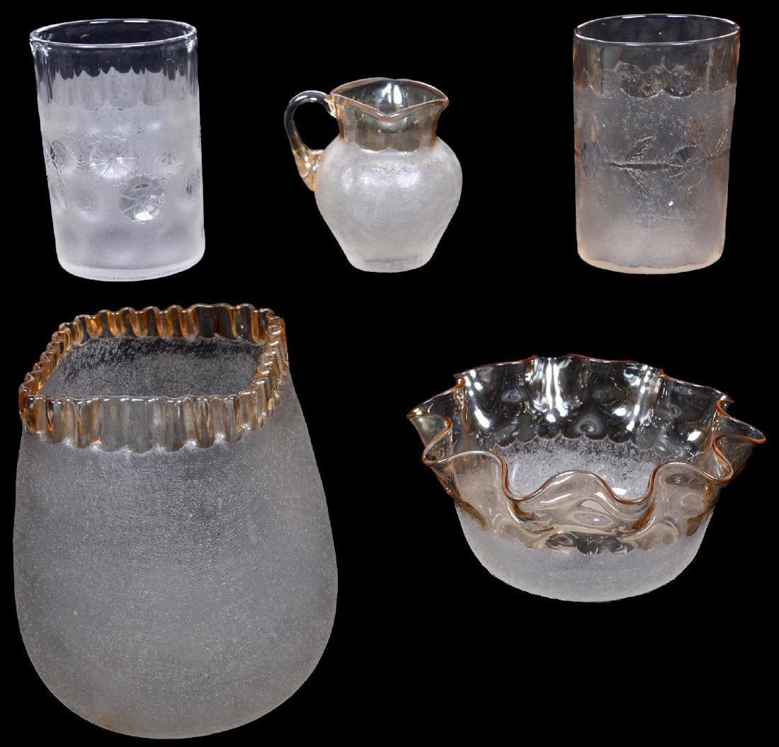 (5) POMONA (FIRST GROUND) ITEMS BY NEW ENGLAND GLASS