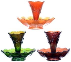 (3) CARNIVAL GLASS VINTAGE PATTERN EPERGNES BY FENTON