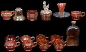 OVER (16) MISC. CARNIVAL GLASS ITEMS