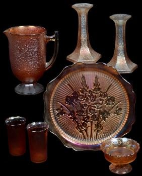 (7) MARIGOLD CARNIVAL GLASS ITEMS