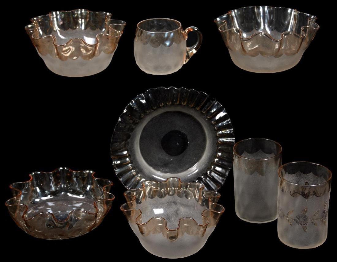 (8) POMONA (SECOND GROUND) NEW ENGLAND ART GLASS ITEMS