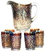 75 CARNIVAL GLASS WATER PITCHER  6 TUMBLERS
