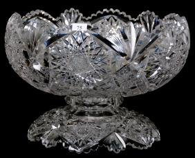 """TWO-PART PUNCH BOWL - 9.5"""" X 14"""" - ABCG - SIGNED LIBBEY"""