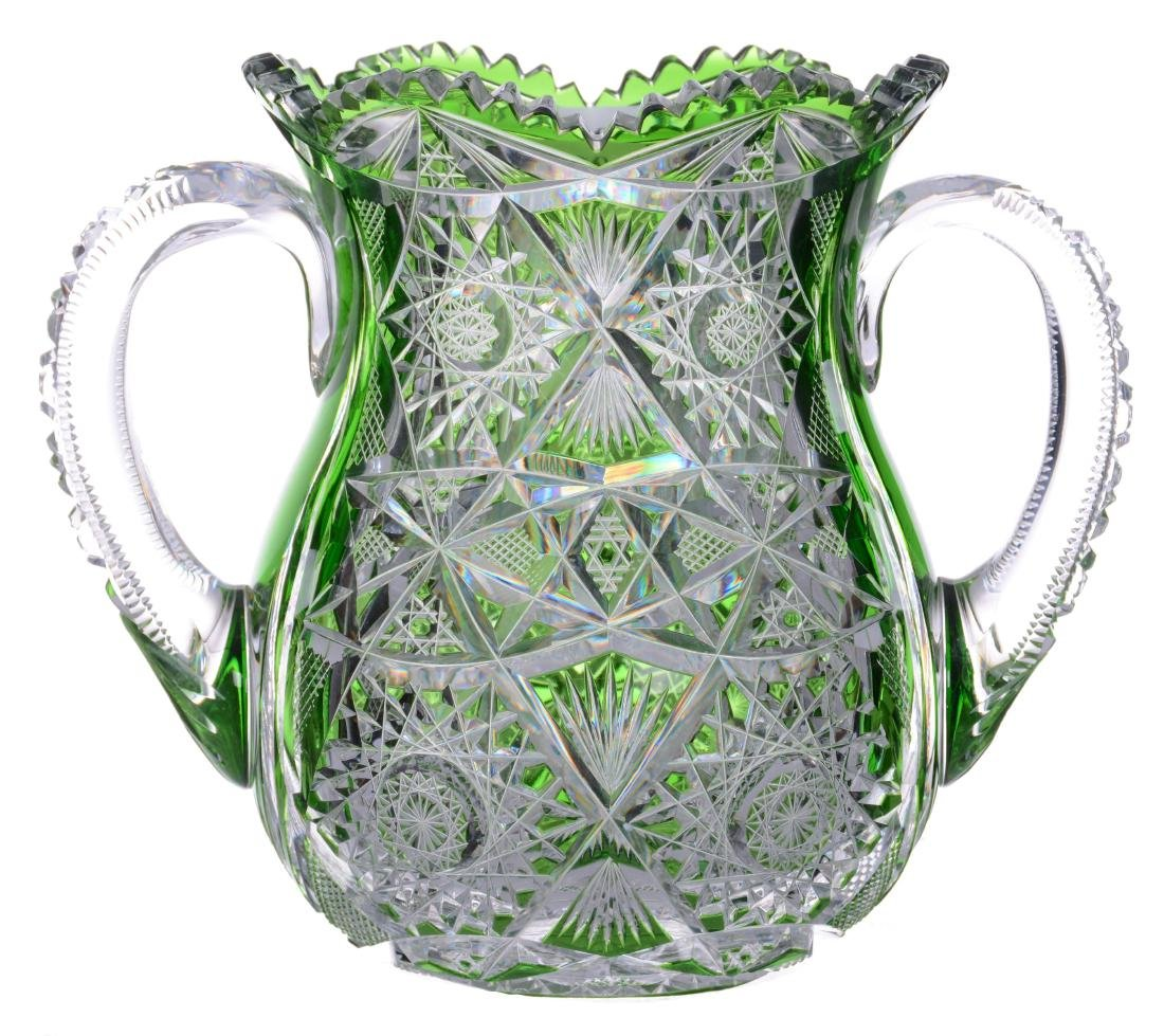 """TWO HANDLED VASE - 7.25"""" X 9"""" ABCG GREEN CUT TO CLEAR"""
