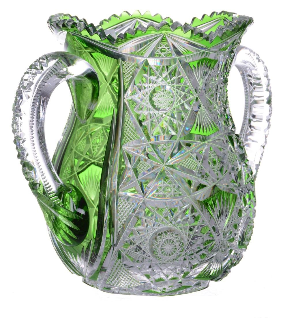 "TWO HANDLED VASE - 7.25"" X 9"" ABCG GREEN CUT TO CLEAR - 2"