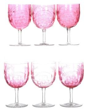 "(6) WINE GLASSES - 4.375"" - SOLID CRANBERRY BOWLS"