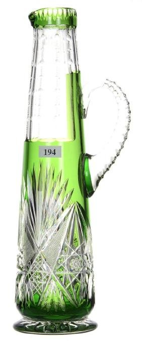 "CHAMPAGNE PITCHER - 13.75"" - STRONG GREEN CUT TO CLEAR"