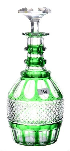 """DECANTER - 10.75"""" - ABCG - EMERALD GREEN CUT TO CLEAR"""