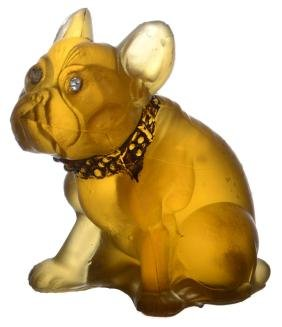 "BULLDOG FIGURINE - 2.5"" - SOLID AMBER GLASS BY"