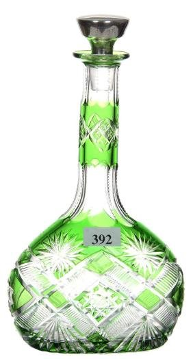 "OVOID DECANTER - 8.75"" GREEN CUT TO CLEAR W/ HOBSTAR,"