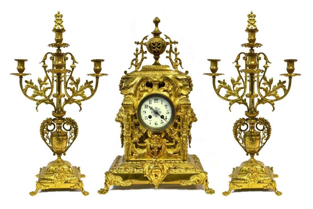 French Bronze Clock Set