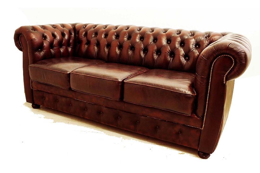 English Tufted Leather Sofa