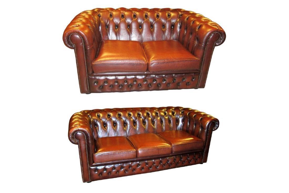 English Leather Sofa Set