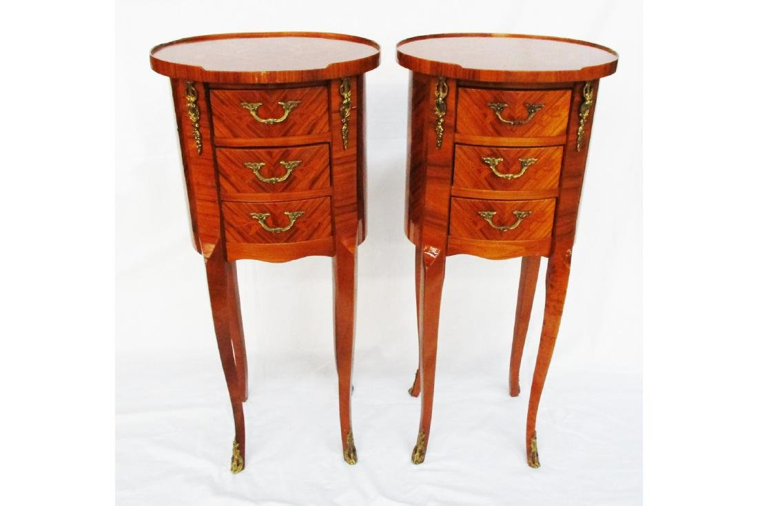Pair Marquetry Side Tables