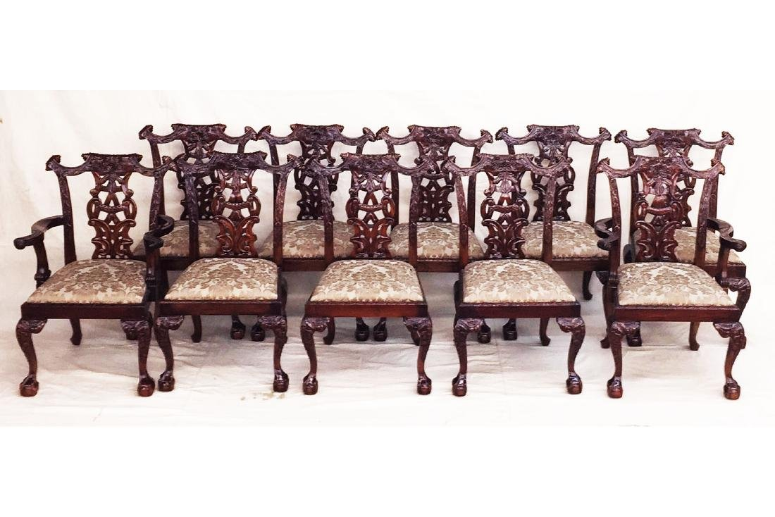 Set of 10 Carved Mahogany Dining Chairs