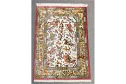 Persian All Silk Qum Hunting Scene