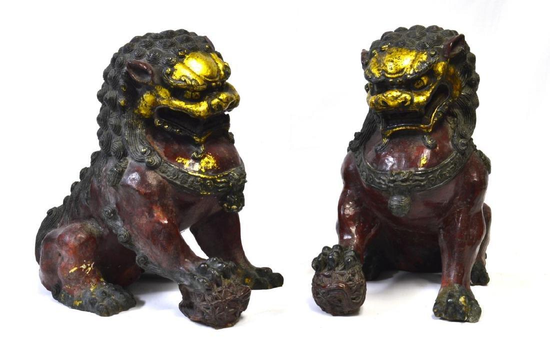 Pair of Bronze Sculptures - Foo Dogs