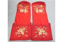 Pair antique Chinese emboidered silk altar panels