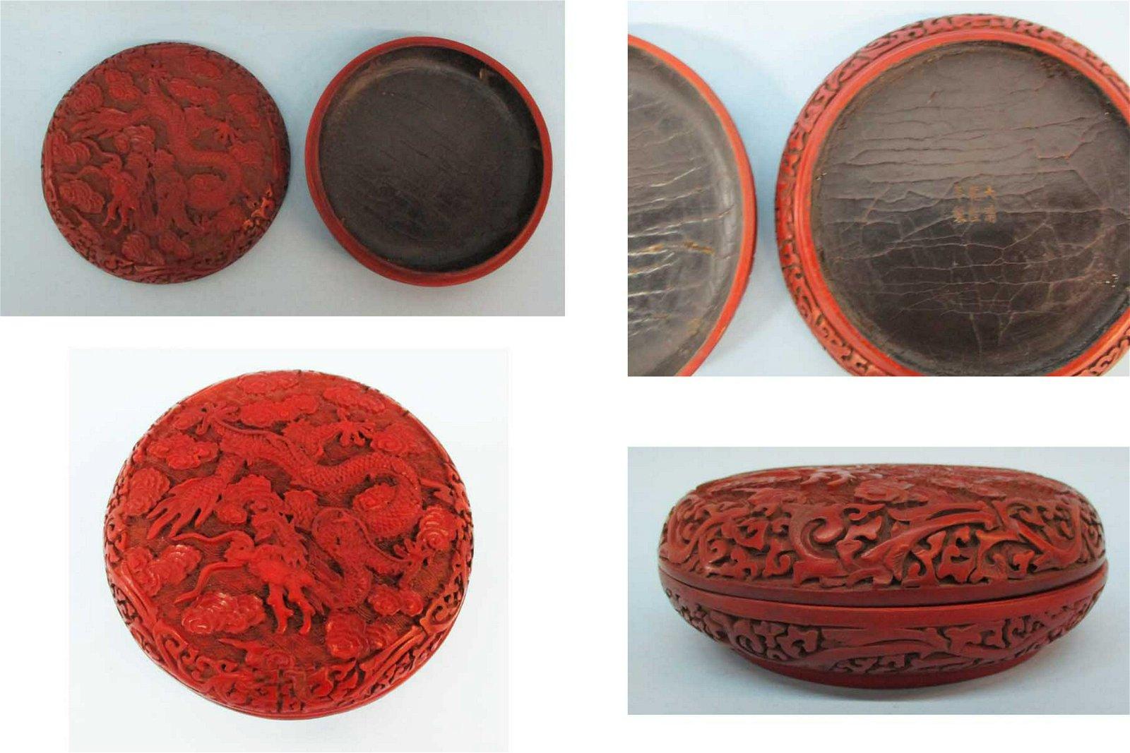 Antique Chinese Cinnabar Lacquer Box