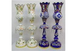 Coloured Glass Hurricane Lamps
