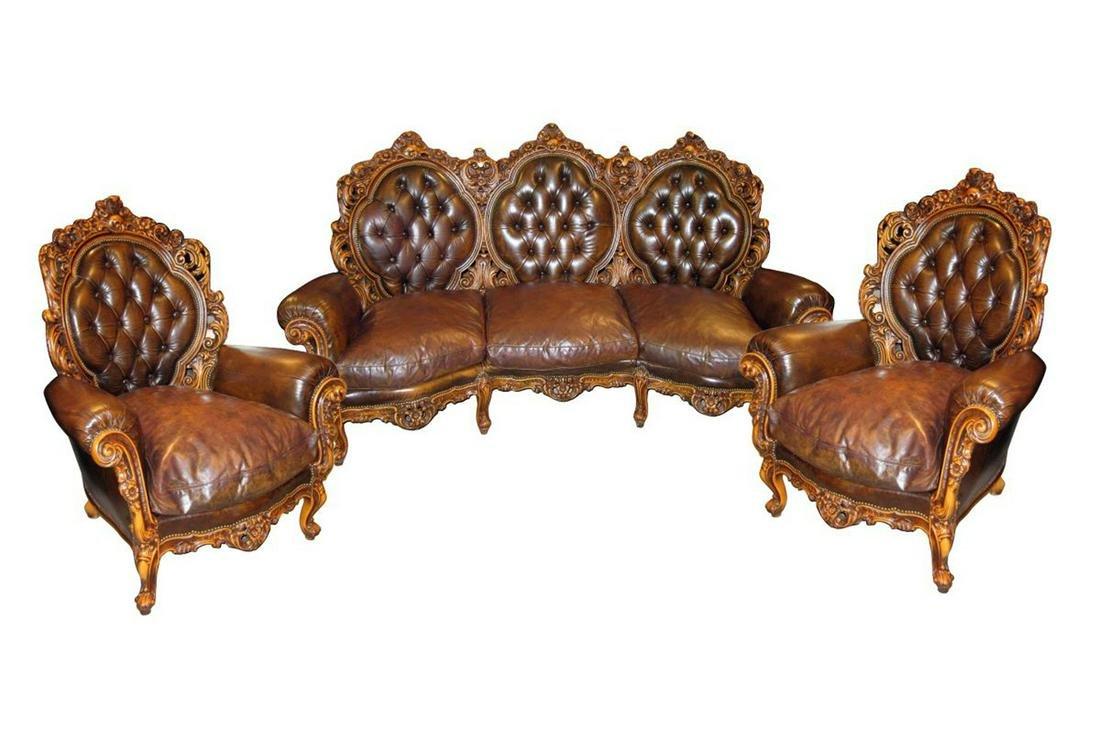 3-Piece Italian Leather Salon Set