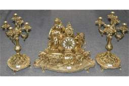 Gilt Bronze Clock Set