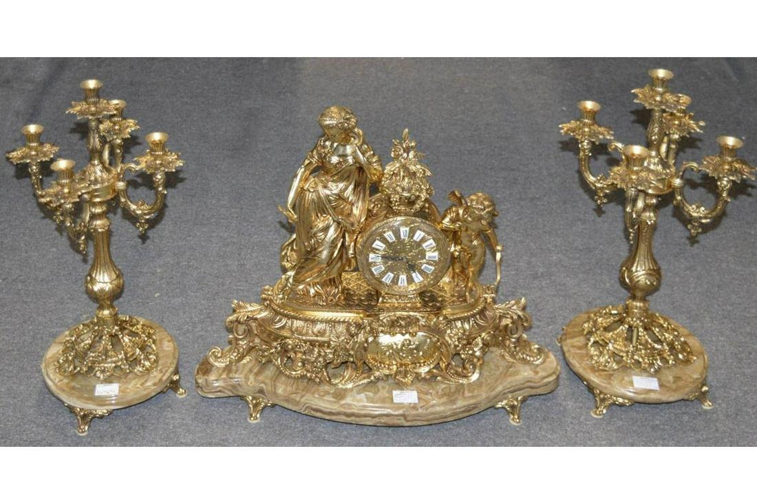 Gilt Bronze Clock Set