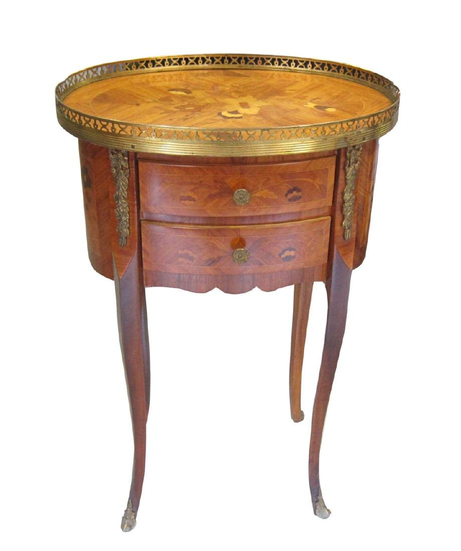 Antique Louis XV-style inlaid side table