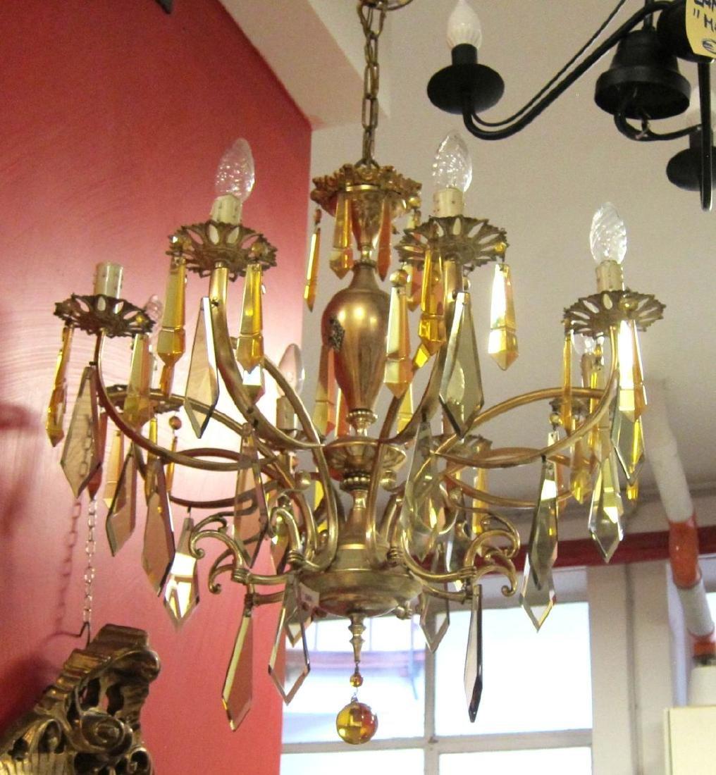 Vintage 8-light brass chandelier