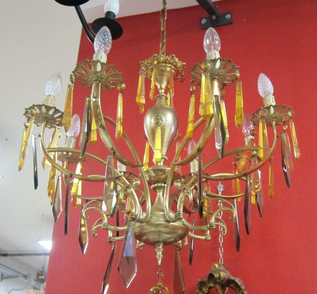 Vintage 8-light brass chandelier - 2