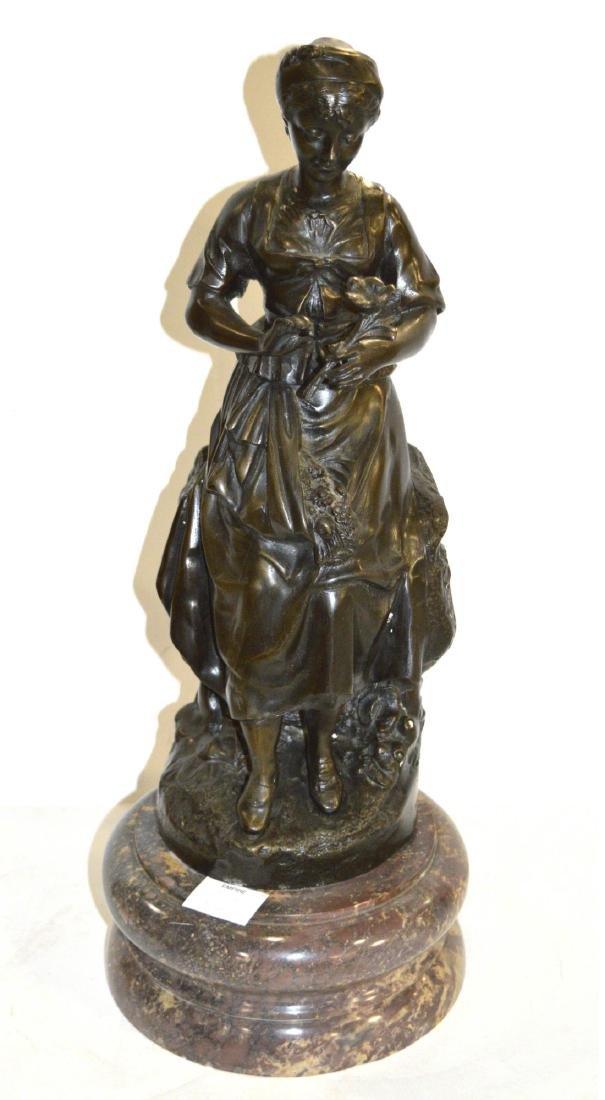 Bronze sculpture of a standing woman