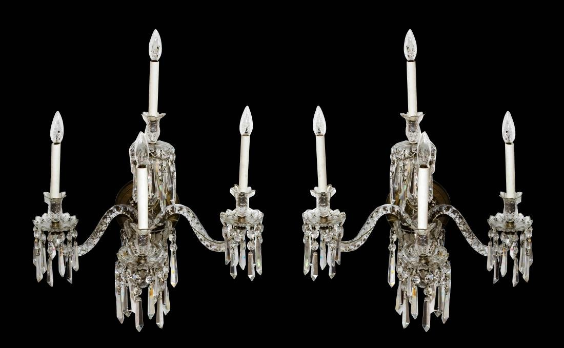 Pair of Baccarat crystal wall sconces
