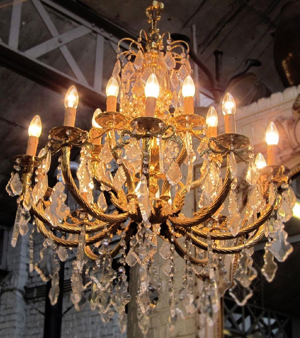15-light bronze and crystal chandelier
