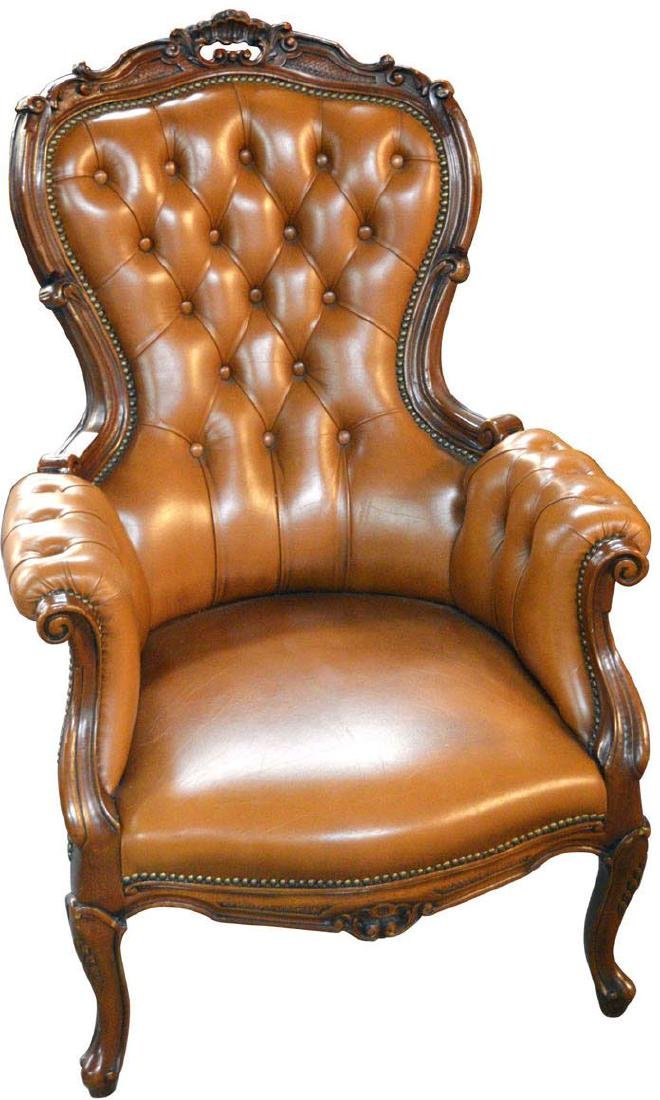 Vintage Louis XV-style leather armchair