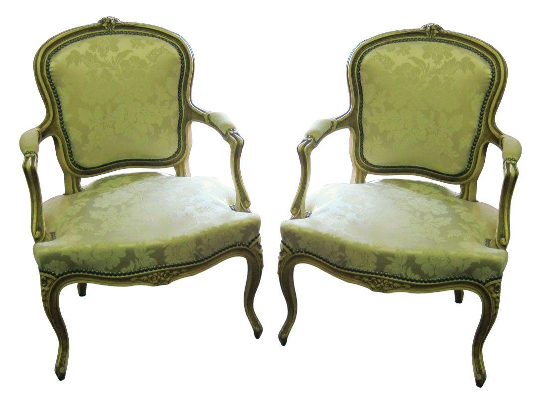 Pair of antique Louis XV-style armchairs