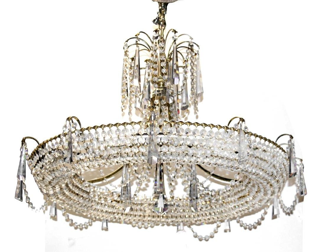 Vintage brass and clear crystal chandelier