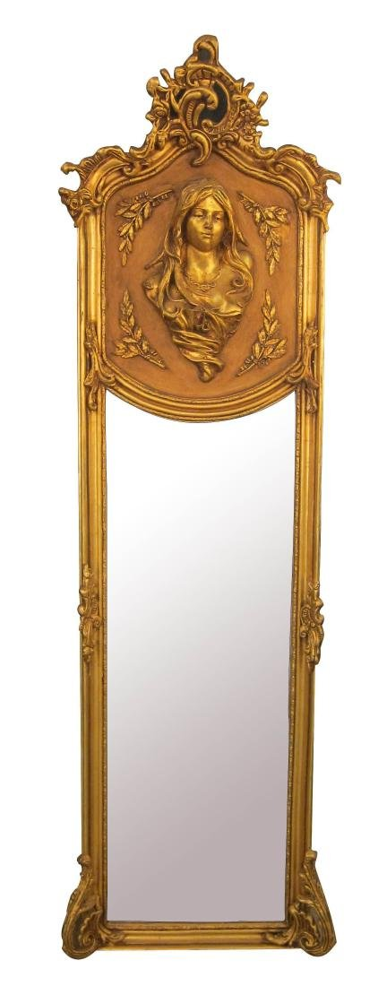 Art Nouveau-style giltwood trumeau mirror