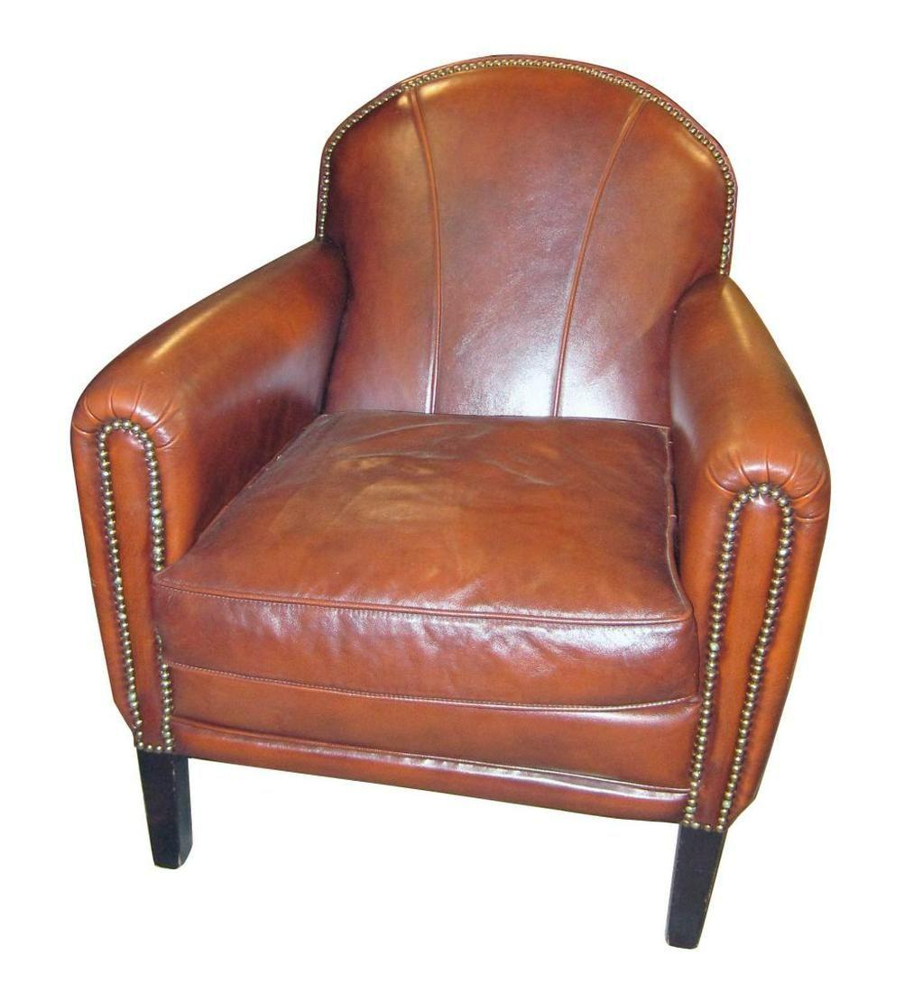 Vintage Italian leather upholstered armchair